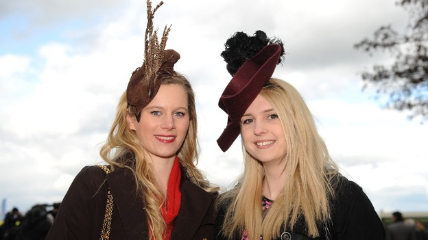 Sarah Jordan (left) and Kirsty Scaplehorn from Cheltenham attend Ladies Day