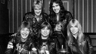 Clive Burr pictured bottom left with fellow band members.