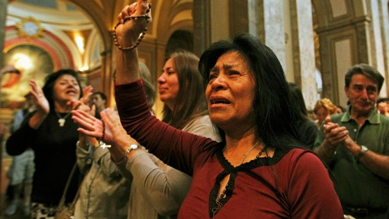 Roman Catholics celebrate at the Metropolitan Cathedral in Buenos Aires
