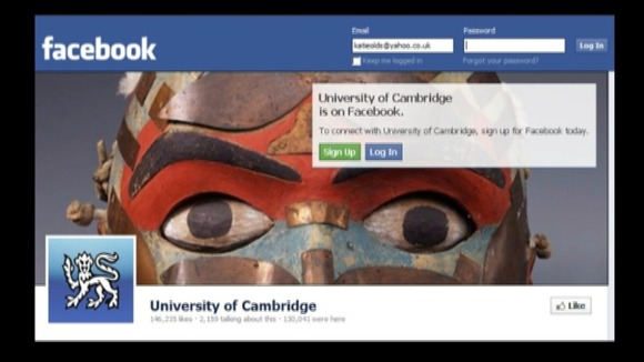 Cambridge University's Facebook timeline can navigate back to 1209 compared to the standard timeline which only goes back to the year 1800