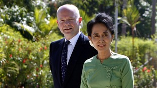 The Foreign Minister William Hague with Ms Suu Kyi in January 2012