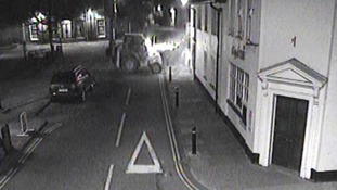 This CCTV image show a digger being used to remove the ATM from the wall of the Lloyds TSB Branch in Hadleigh