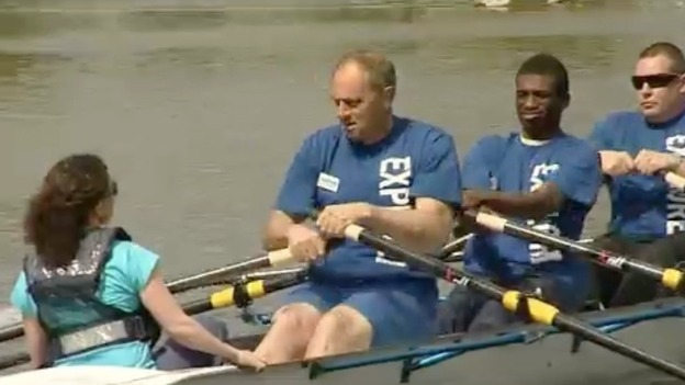 Sir Steve Redgrave rowing with club rowers