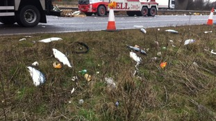 M62 closed after overturned lorry spills 10 tonnes of fish