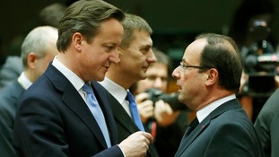 David Cameron talks to France's President Francois Hollande today in Brussels