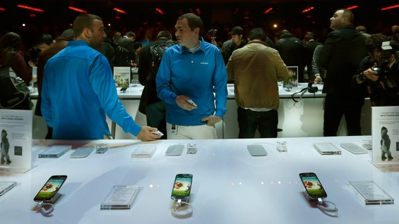 Galaxy S4 phones on display after the launch