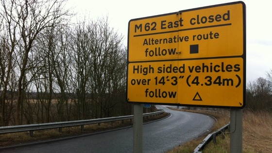 A sign diverting drivers on the M62