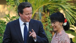 Prime Minister David Cameron meets Aung San Suu Kyi at her Lakeside Villa in Rangoon, Burma