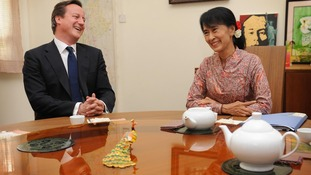 Mr Cameron and Ms Suu Kyi meet at her house in Rangoon