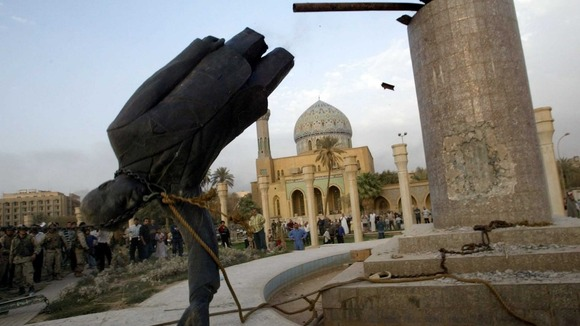Saddam Hussein&#x27;s statue is pulled down in central Baghdad