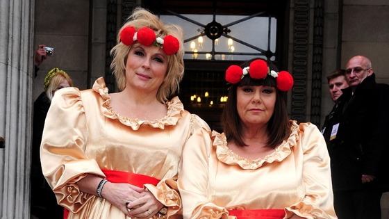 Jennifer Saunders (left) and Dawn French attend the wedding of Ben Springett and Clair Gilchrist