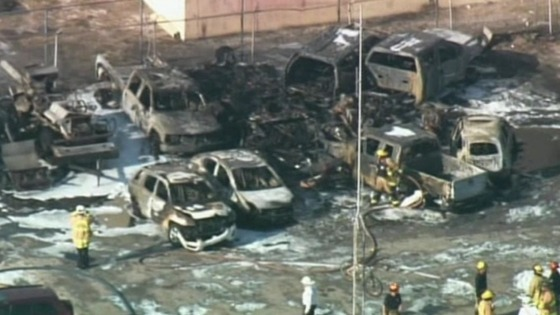 The cars that were hit by the airplane