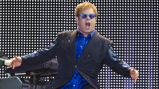 Sir Elton John pictured performing at Sao Jose Stadium in Brazil earlier this month.