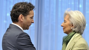 Eurogroup president Jeroen Dijsselbloem and International Monetary Fund chief Christine Lagarde.
