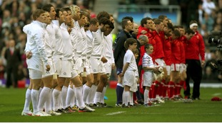 England and Wales teams line up before their match 6 Nations match last year