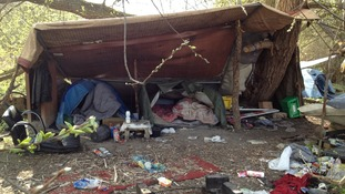 The UK Border Agency says its working with Northampton Borough Council to deal with camps set up by homeless migrants in the town