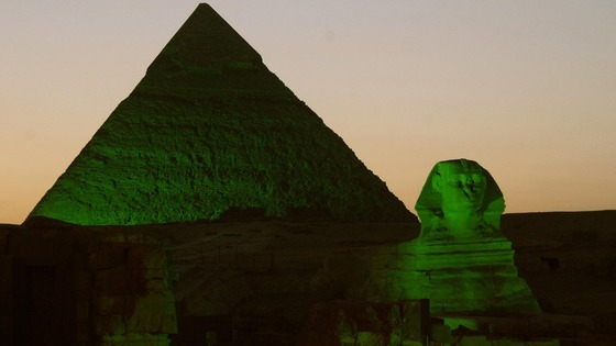 The pyramids and Sphinx in Giza, Egypt lit up green for St. Patrick's Day