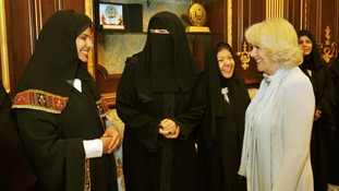 The Duchess of Cornwall talks to some of the first women MP's to sit in the Shura parliament building in Riyadh