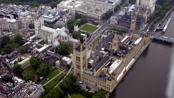 The Houses of Parliament and Whitehall in central London