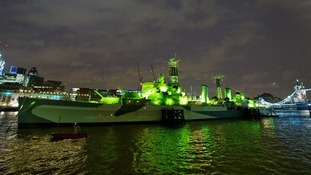 HMS Belfast lit green for St Patrick's Day