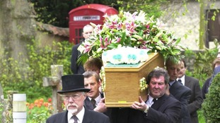The funeral of Terry Lloyd at St Nicholas Church in Cuddington, Buckinghamshire