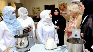 Duchess of Cornwall meets women who are learning cooking skills at the Bab Rizq Jameel Nafisa Shams Academy