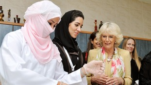 The Duchess finished her tour in the exhibition space, where products made by the women are displayed and sold
