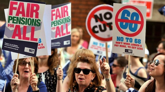 Demonstrators against teachers&#x27; pensions reforms last year