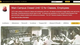 An alert on the website of the University of Central Florida
