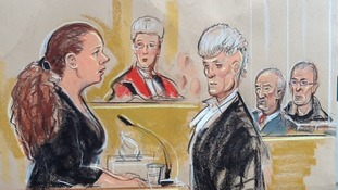 Court illustration of Mairead Philpott giving evidence in court today