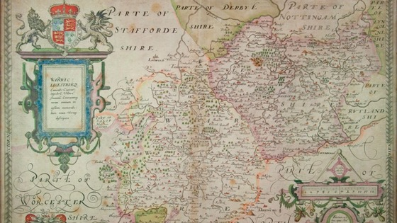 Map of Shakespeare's county in Warwickshire in 1576