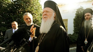 His Holiness Bartholomew I talks to the press after a meeting with President Obama at the White House in 2009