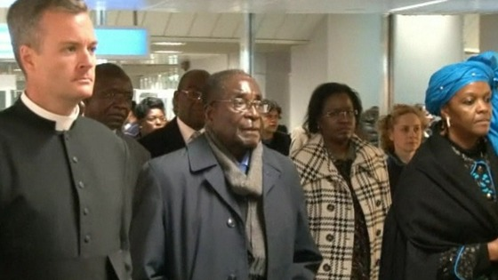 Mugabe and his wife Grace arrived at Rome airport