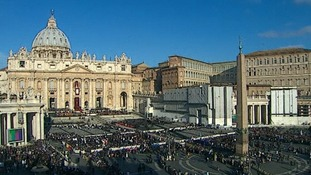 Crowds gather outside the Vatican