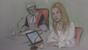 Court illustration of Joss Stone giving evidence at Exeter Crown Court today
