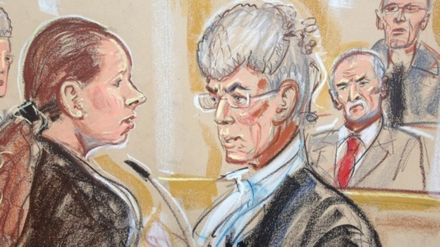 Court illustration of Mairead Philpott (L) and Mick Philpott (2nd from R) in court
