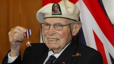 Arctic convoy veteran Eddie Grenfell, 93, with his Arctic Star medal