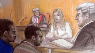 Joss Stone being questioned by Simon Morgan QC at Exeter Crown Court today