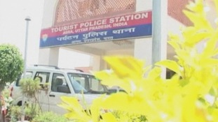 The police station where hotel owner Sachin Chauhan is being held.
