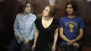 Pussy Riot members Nadezhda Tolokonnikova, Maria Alyokhina and Yekaterina Samutsevich.