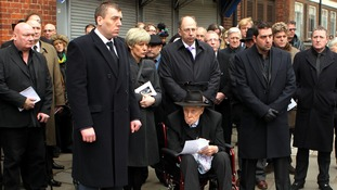 Ronnie Biggs attends funeral of Great Train Robber Bruce Reynolds