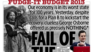 George Osborne's latest Budget is 'The Fail of the Century' on the front of the Mirror