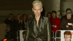 Tilda Swinton arriving at the David Bowie Is exhibition