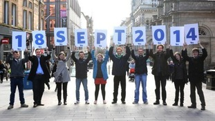 'Yes' campaigners celebrate Scotland's referendum date.
