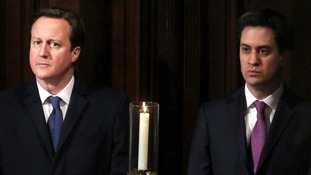 Prime Minister David Cameron and Labour Party leader Ed Miliband attend the Archbishop of Canterbury's enthronement.