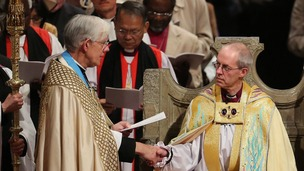 The Most Reverend Justin Welby sits in the Chair of St Augustine during his enthronement ceremony.