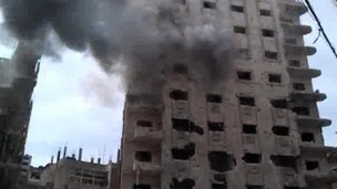 Homs, Syria under fire.