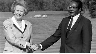 Margaret Thatcher with Robert Mugabe