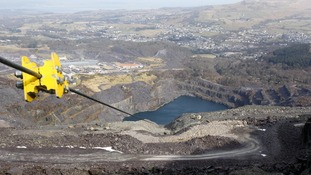 It's a long way down - view from the top of the zip wire