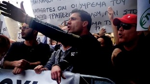 Frustrated Cypriots at Parliament calling for the resignation of Central Bank Governor Panicos Demetriades
